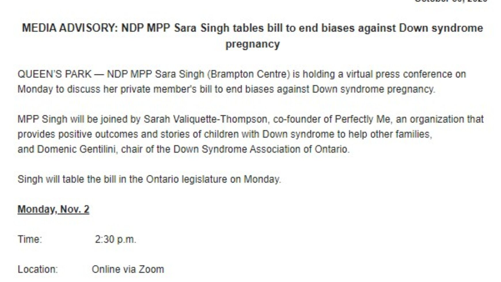NDP MPP Sara Singh tabling Bill to end biases against Down syndrome pregnancy